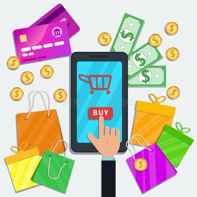 Achats en ligne avec le concept mobile d'appli Smartphone plat avec l'icône de chariot et main cliquant sur le bouton d'achat sur illustration stock