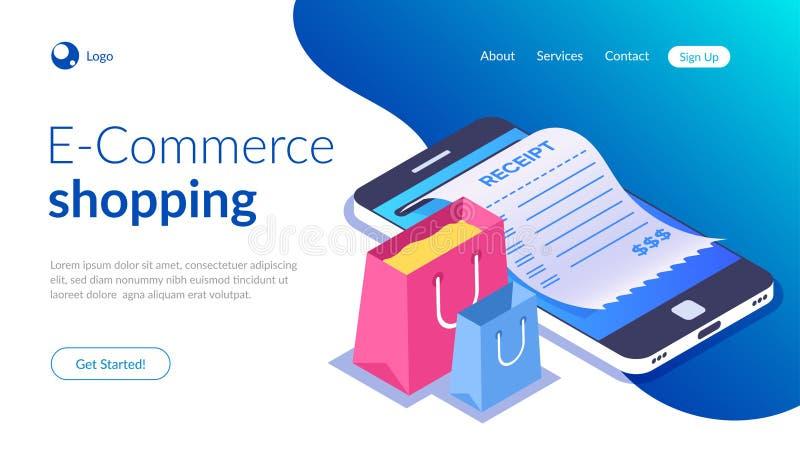 Achats en ligne avec le smartphone Achats de commerce électronique Sac à provisions et reçu sur le fond d'un téléphone portable illustration stock