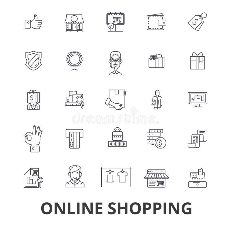 Achats en ligne, commerce électronique, magasin mobile, chariot, sac, achats, vente, ligne icônes d'achat Courses Editable plat illustration stock