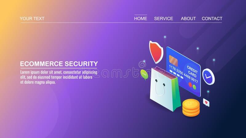 Achats en ligne, commerce électronique, paiement sûr, sécurité de cyber, protection des données, transfert d'argent, concept de c illustration stock
