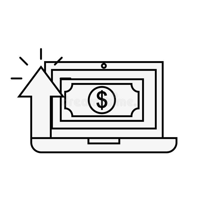 Achats en ligne de flèche d'argent de billet de banque d'ordinateur portable illustration libre de droits