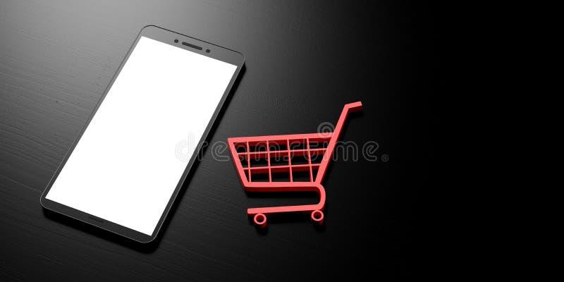 Achats en ligne de Smartphone Smartphone avec l'écran blanc vide et un chariot à achats sur un fond noir, bannière, l'espace de c illustration stock