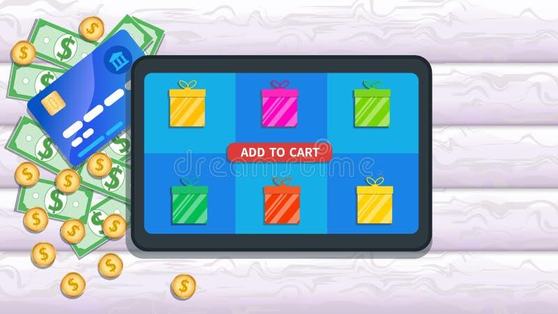 Achats en ligne, magasin, concept de commerce électronique Le comprimé plat avec l'icône de boîte-cadeau et s'ajoutent pour trans illustration de vecteur