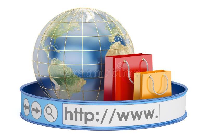 Achats en ligne mondiaux, concept en ligne d'achats rendu 3d illustration stock