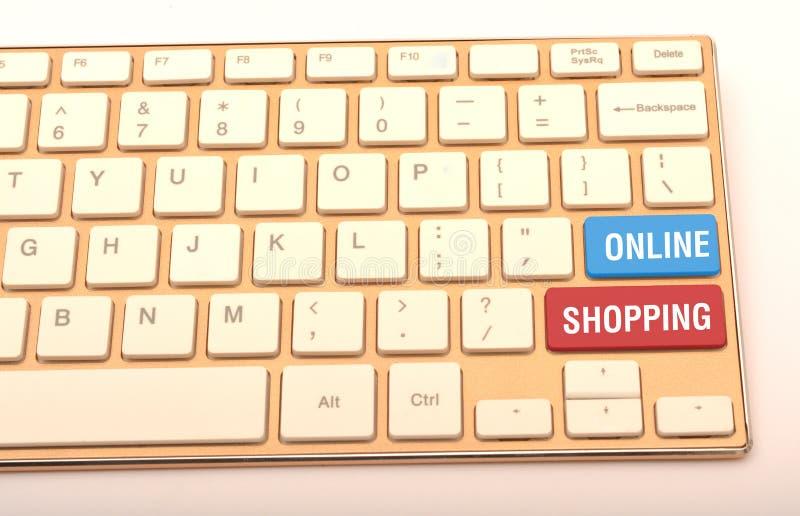 Achats en ligne sur haut étroit de clés de clavier image libre de droits