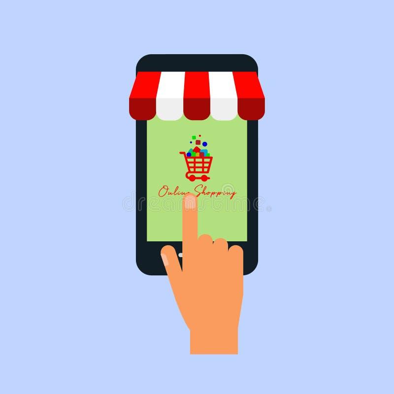 Achats en ligne sur le site Web ou le marketing mobile de vente et de Digital de concept de vecteur d'application illustration de vecteur