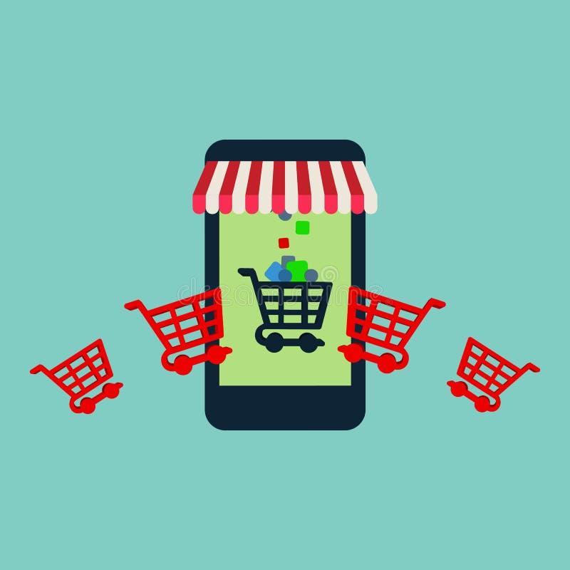 Achats en ligne sur le site Web ou le marketing mobile de vente et de Digital de concept de vecteur d'application illustration stock