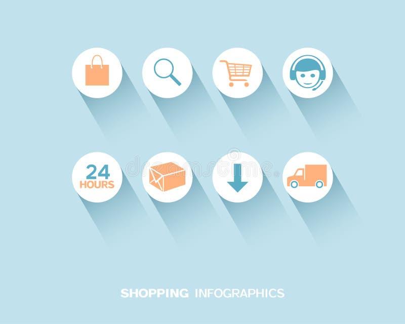 Achats et livraison infographic avec les icônes plates réglées illustration de vecteur
