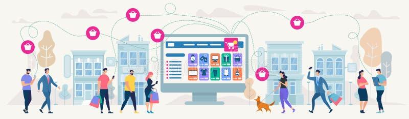 Achats et réseau en ligne Illustration de vecteur photographie stock libre de droits