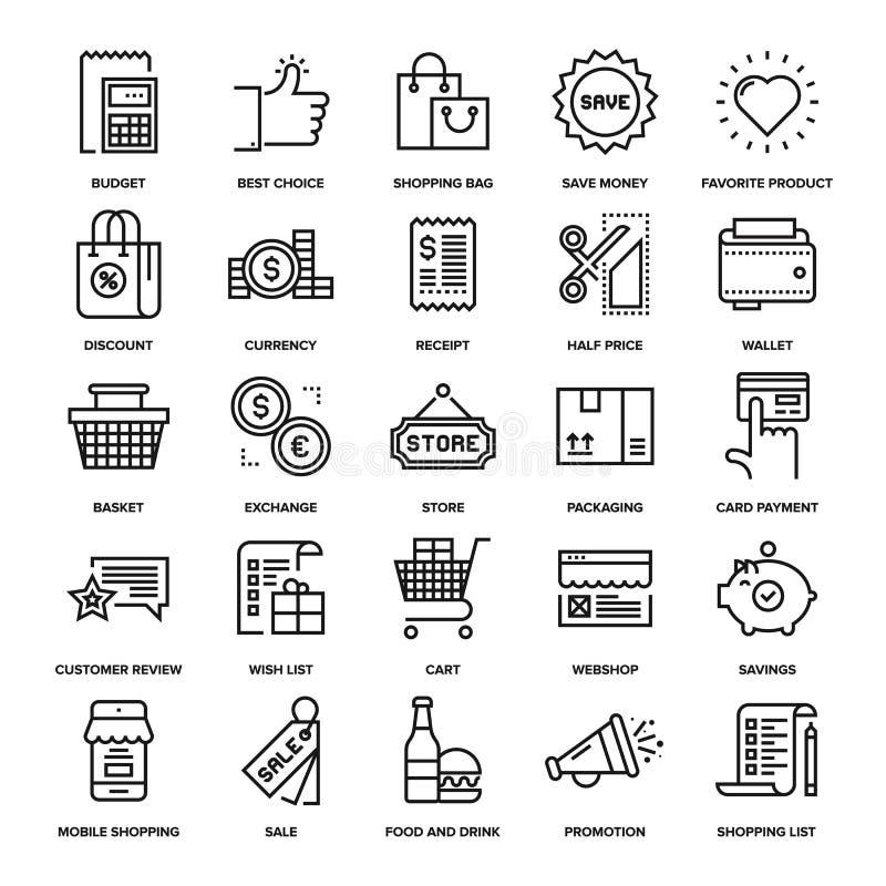 Achats et vente au détail illustration de vecteur