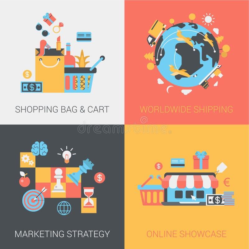 Achats, expédition, stratégie marketing et ensemble en ligne d'appartement de magasin illustration stock