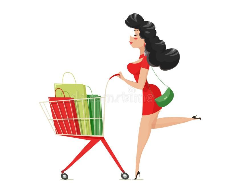 Achats Fille avec le chariot de supermarché illustration de vecteur