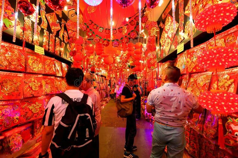 Achats lunaires chinois de nouvelle année de Singapour Chinatown photo stock