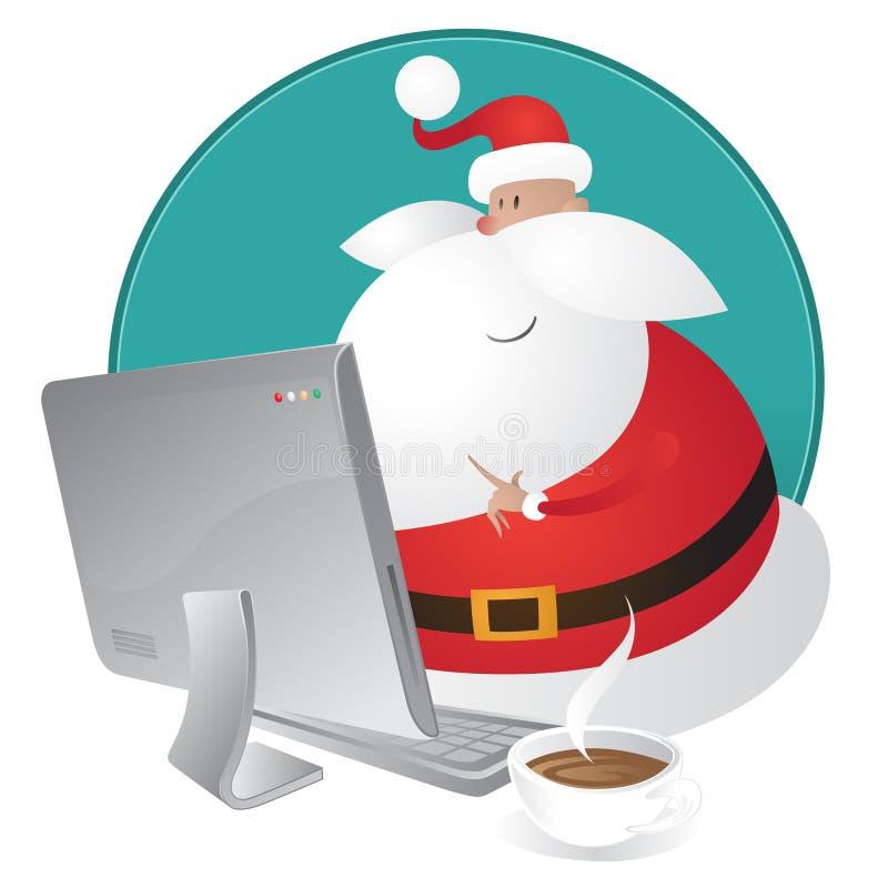 Achats mignons de Santa pour Noël sur son ordinateur illustration de vecteur