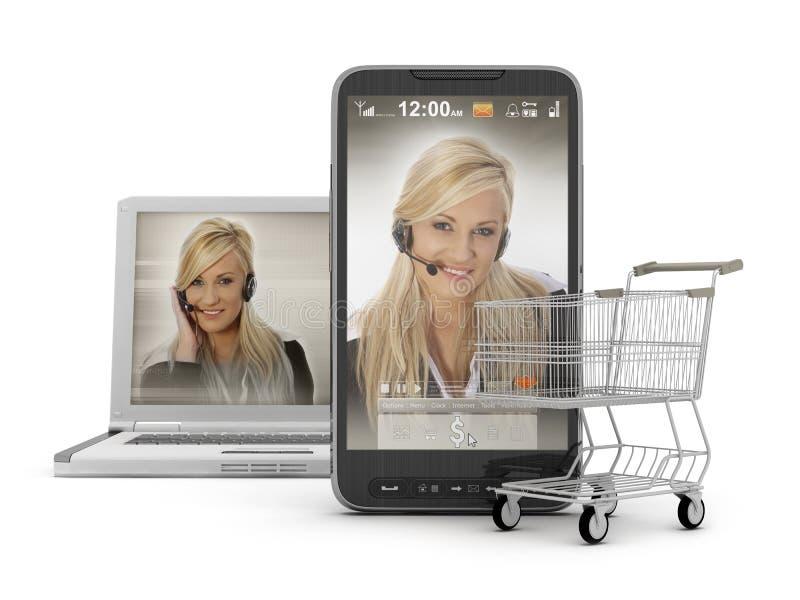 Achats mobiles - support en ligne photo libre de droits