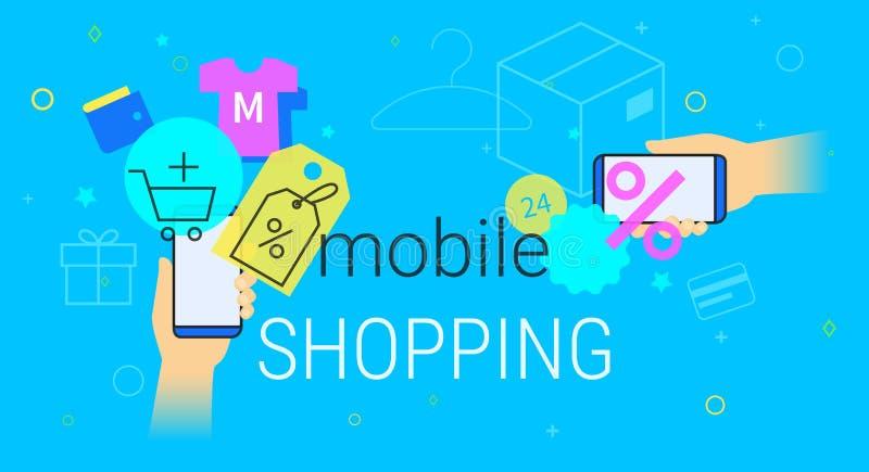 Achats mobiles sur l'illustration de concept de smartphone illustration de vecteur