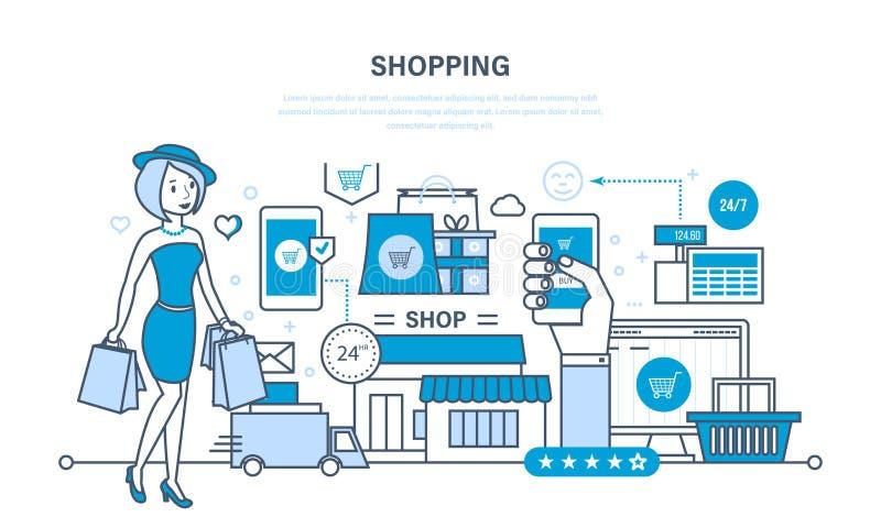 Achats modernes, système de commande en ligne des produits, paiement sûr, la livraison illustration libre de droits