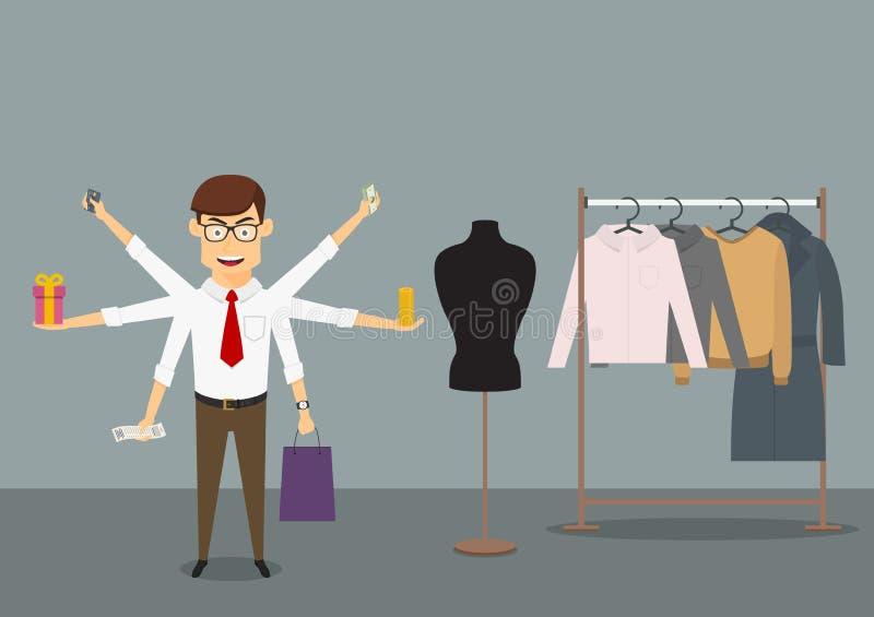 Achats multitâche d'homme d'affaires dans le magasin de vêtements image libre de droits