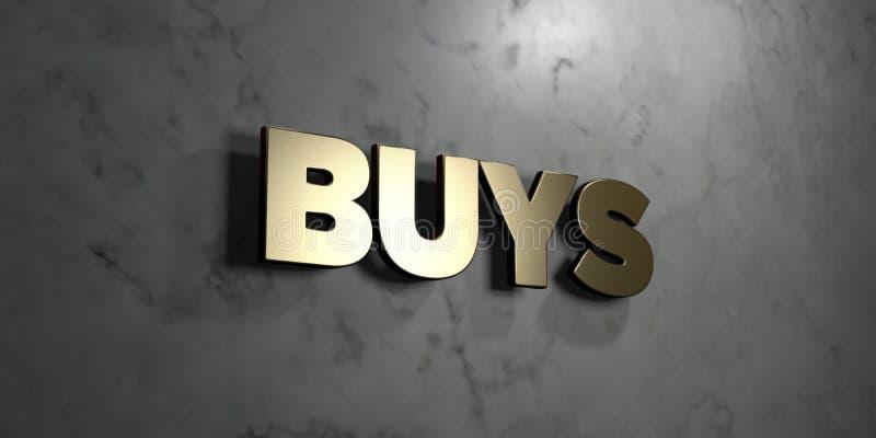 Achats - signe d'or monté sur le mur de marbre brillant - illustration courante gratuite de redevance rendue par 3D illustration stock