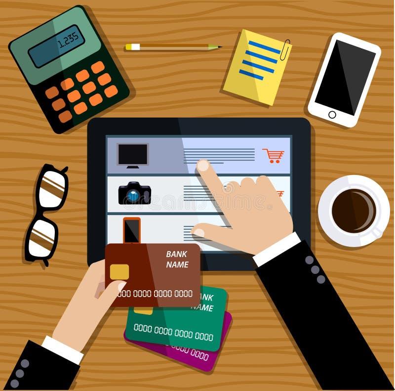Achats sur l'Internet Le commerce en ligne Style plat illustration libre de droits