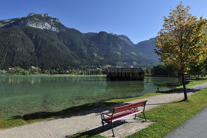 Achensee. Rest place with a bench at Achen lake in Tyrolia - Austria royalty free stock photo