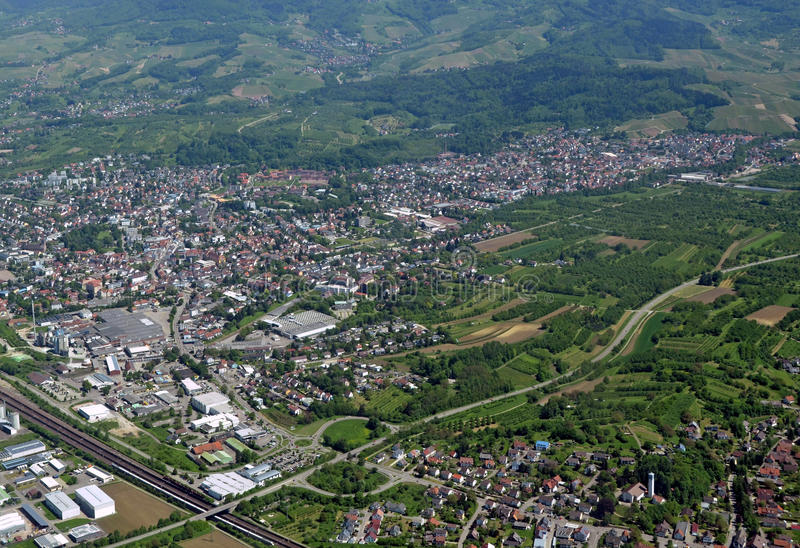 Achern Baden, aerial. Aerial view of the town of Achern in Baden Germany royalty free stock photos