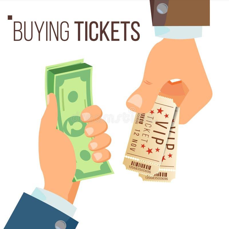 Achetant et vendant le vecteur de billets Mains tenant l'argent et deux billets Billets de achat pour le cinéma, partie, zoo, cir illustration de vecteur