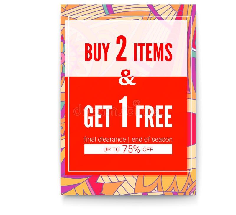Achetez deux choses, une obtiennent pour gratuit Affiche de ventes sur le contexte tribal de modèle Levez-vous à soixante-quinze  illustration libre de droits