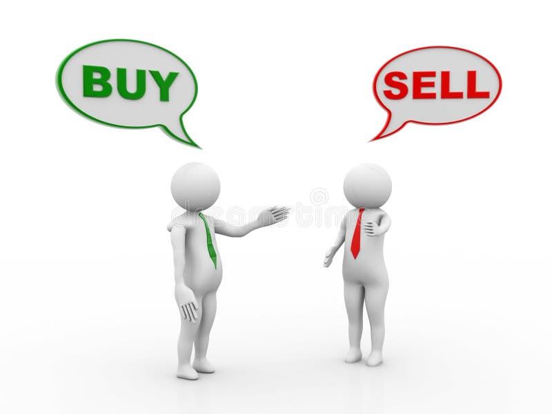 Achetez et vendez la conversation avec l'homme d'affaires 3d rendent illustration stock