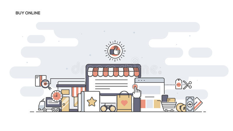 Achetez la ligne plate en ligne bannière conçue illustration stock