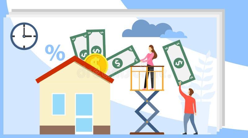 Achetez les immobiliers Les mini personnes achètent une maison pour l'argent Un vrai agent immobilier donne une main avec une mai illustration libre de droits