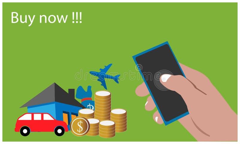 Achetez maintenant avec le smartphone tenu dans la main sur le fond jaune Illustration plate de vecteur illustration stock
