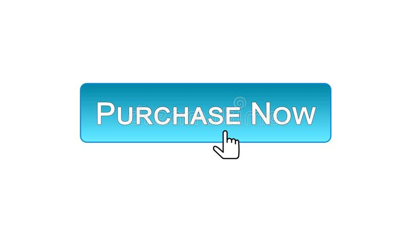 Achetez maintenant le bouton d'interface de Web cliqué sur avec la souris, couleur bleue, vente illustration stock