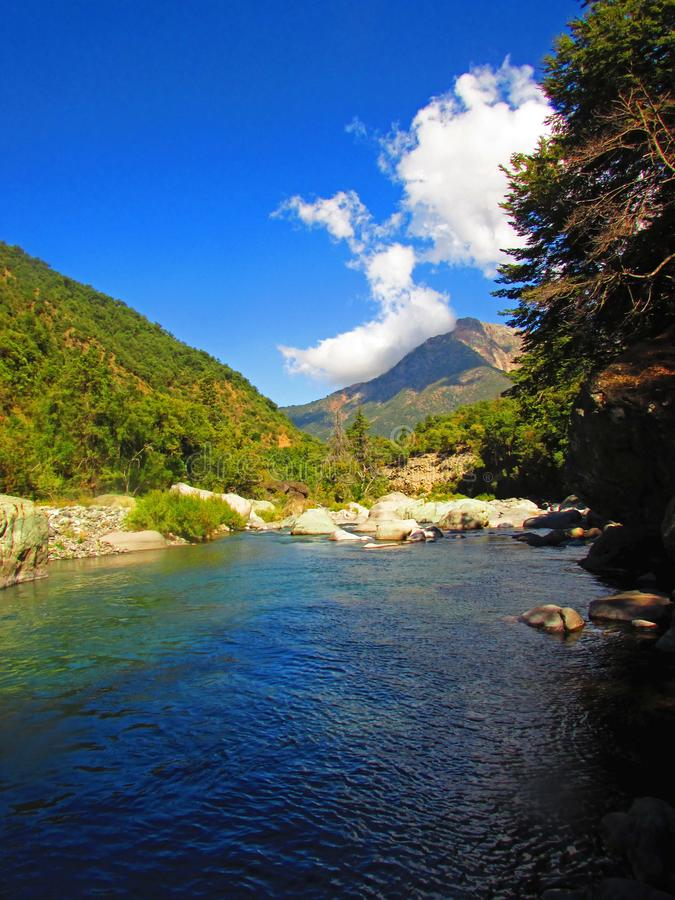 Achibueno river, Water contemplate, Andes mountains in Achibueno Valley, Linares, Maule, Chile. Achibueno river, Water contemplate,Andes mountains in Achibueno stock image