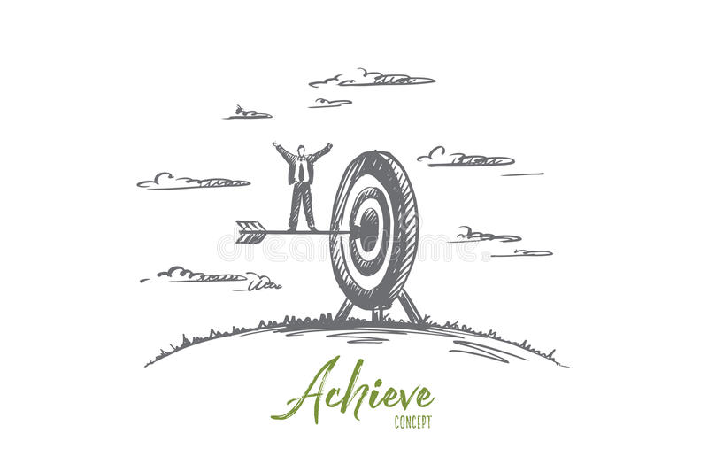 Achieve concept. Hand drawn isolated vector. royalty free stock photography