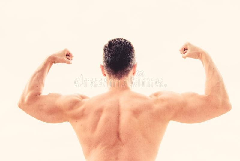 Achieve success. Successful athlete. Victory and success. Champion and winner concept. Sport motivation. Man celebrating. Success. Bodybuilder strong muscular royalty free stock image
