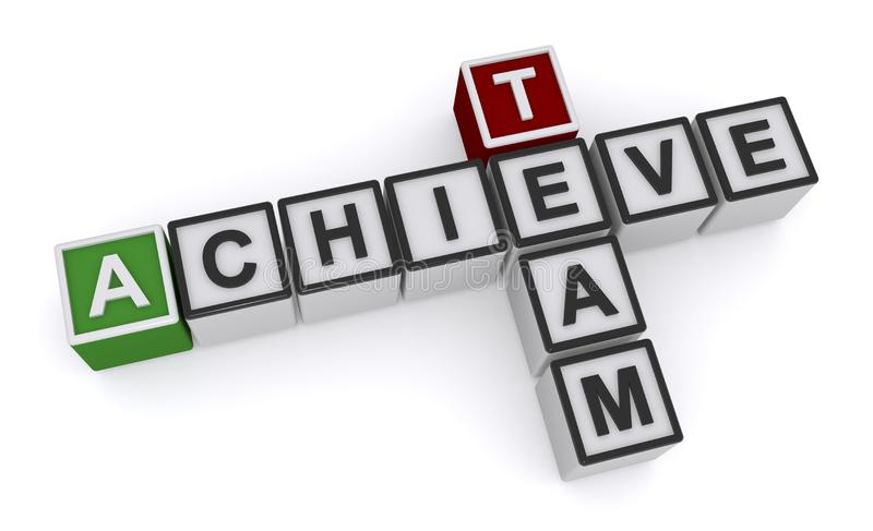 Achieve team word block. On white vector illustration