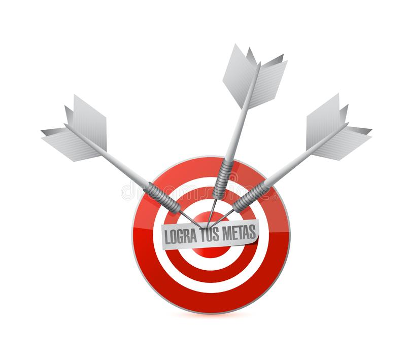 achieve your goals target bullseye in Spanish royalty free illustration