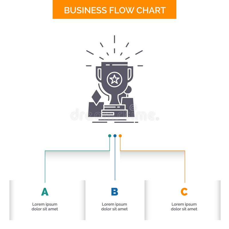 Achievement, award, cup, prize, trophy Business Flow Chart Design with 3 Steps. Glyph Icon For Presentation Background Template. Place for text.. Vector EPS10 vector illustration