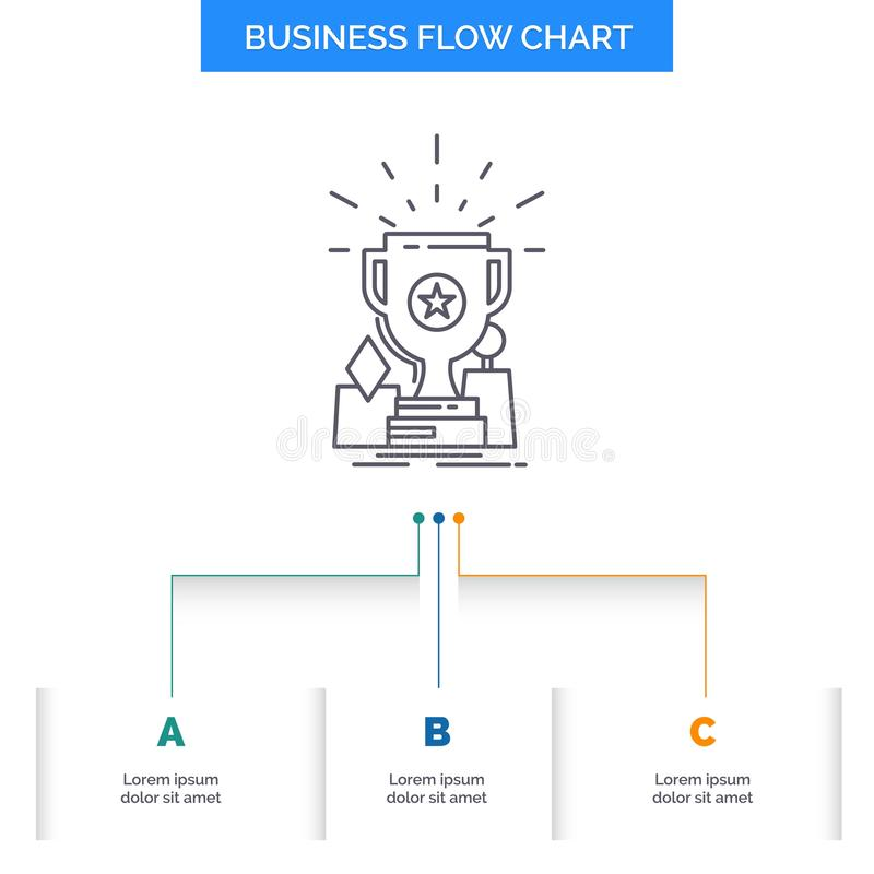 Achievement, award, cup, prize, trophy Business Flow Chart Design with 3 Steps. Line Icon For Presentation Background Template. Place for text. Vector EPS10 vector illustration
