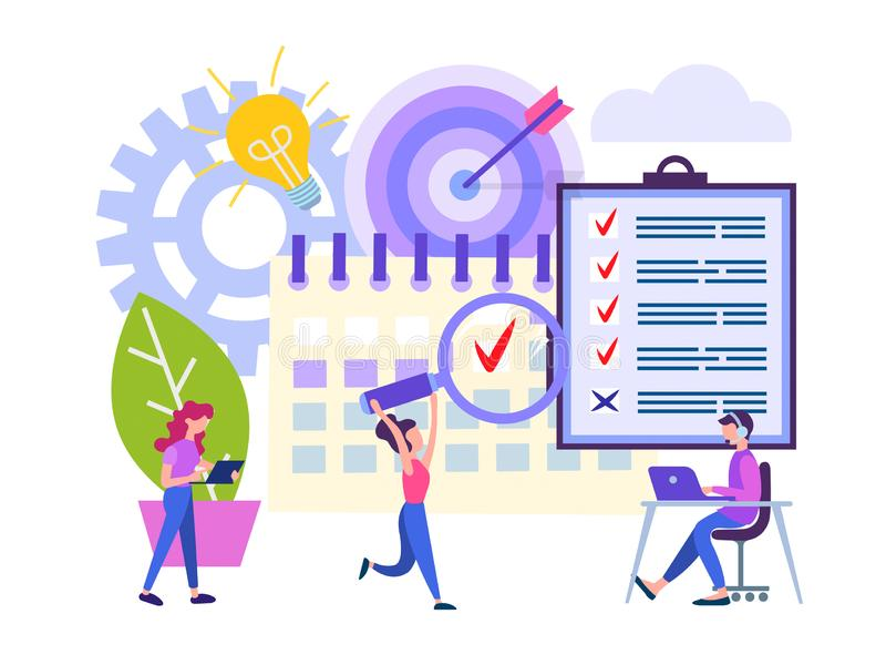 The achievement of business results. Office work deadline concept vector illustration. Employees are in a hurry to finish the work and get the result by a vector illustration