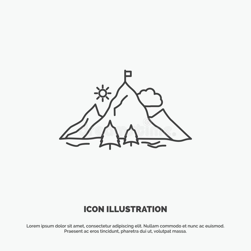 Achievement, flag, mission, mountain, success Icon. Line vector gray symbol for UI and UX, website or mobile application. Vector EPS10 Abstract Template stock illustration