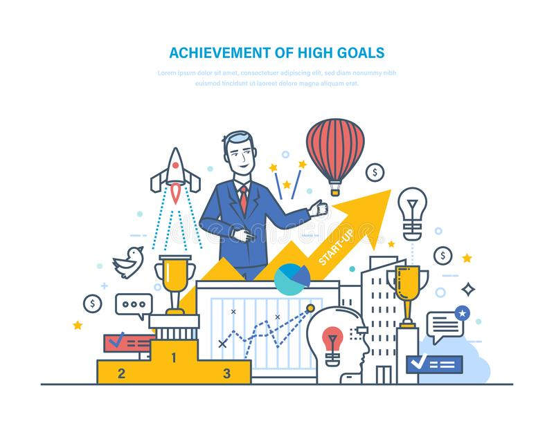 Achievement high goals. Financial and career growth, success in business. Achievement of high goals. Financial and career growth, success in business stock illustration