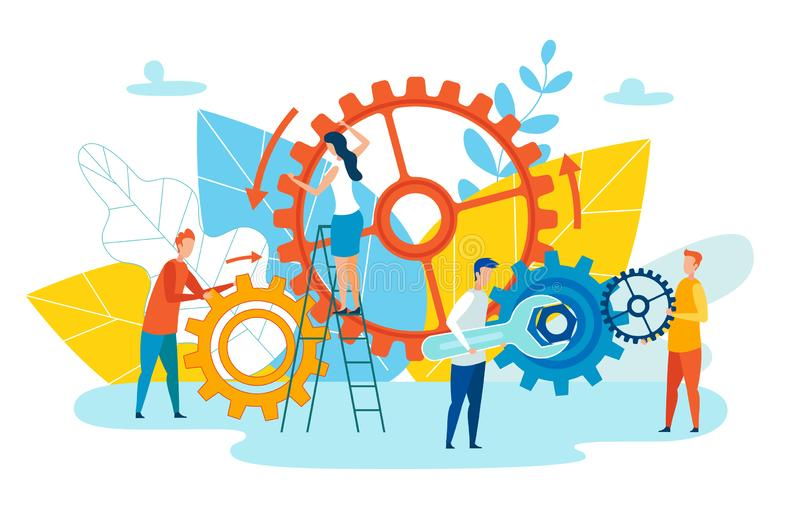 Achievement Level Employee Interaction Cartoon. Group People Set up Mechanism with Wrench. Team Leader Metaphor and Employee Solve Brainstorm. Vector vector illustration