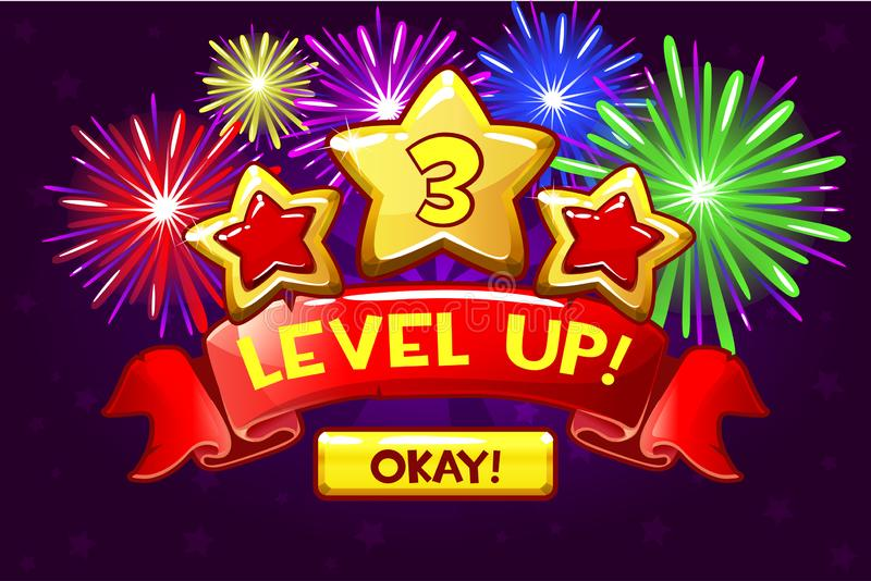 Achievement screen, cartoon icon Level up and button. GUI elements. Icons for game design. Achievement screen, cartoon icon Level up and button. Vector GUI royalty free illustration