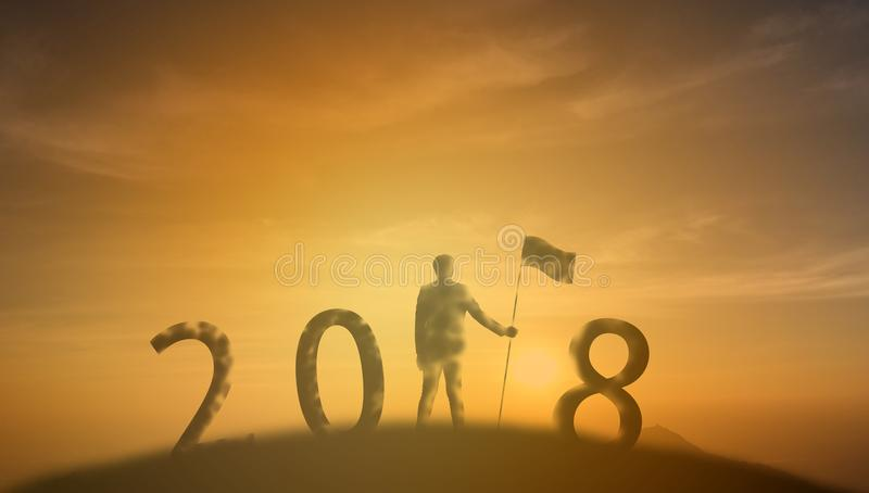 2018 achievement, success ,leadership of business man concept, s royalty free stock images