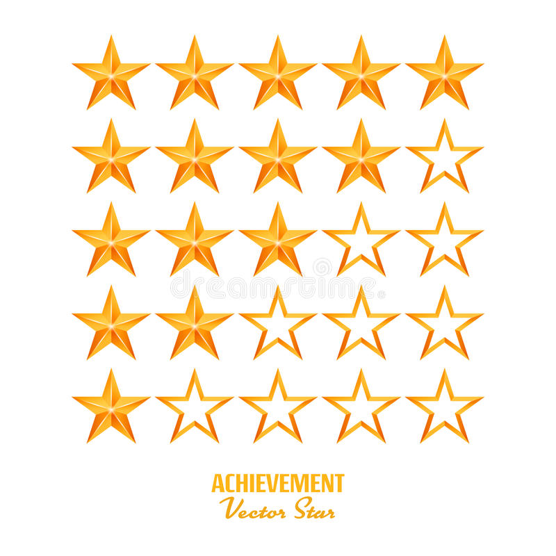 Achievement Vector Stars. For Game And Review Rating. Like Symbol, Succes Sign, Classify Concept, Realistic Element. Isolated On White Background vector illustration