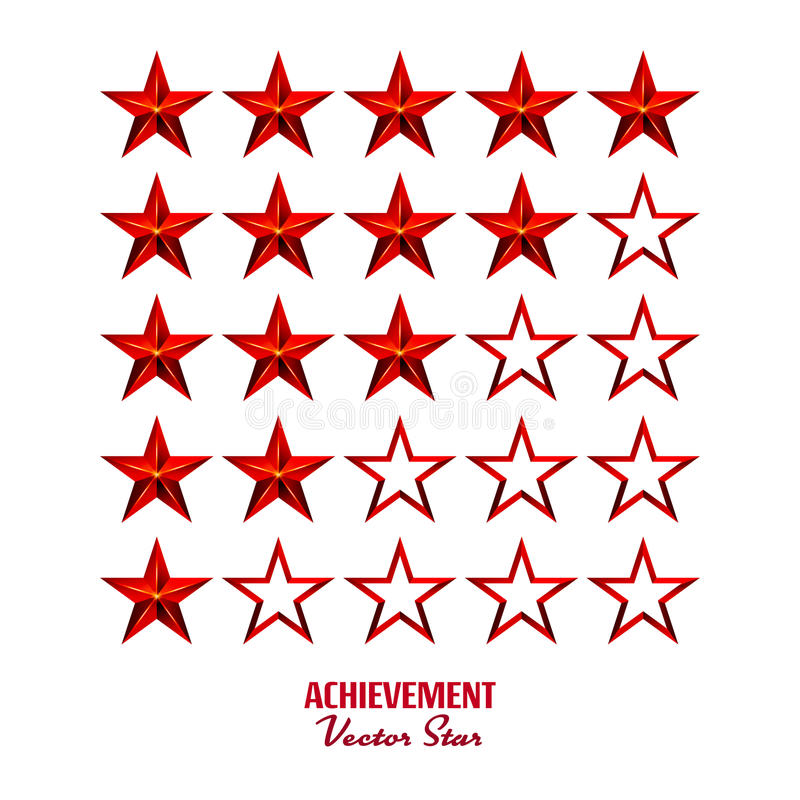 Achievement Vector Stars. For Game And Review Rating. Like Symbol, Succes Sign, Classify Concept, Realistic Element. Isolated On White vector illustration