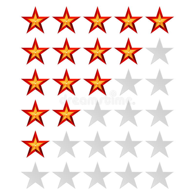 Achievement Vector Stars. For Game And Review Rating. Like Symbol, Succes Sign, Classify Concept, Realistic Element. Isolated On White stock illustration