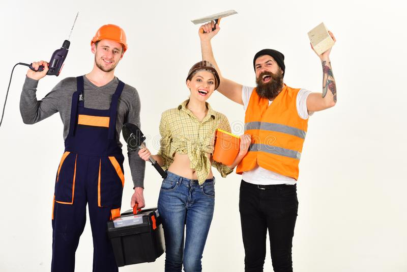 Achieving best results. Construction workers team. Constructing engineers or architects. Professional working team. Construction technicians with building royalty free stock photo